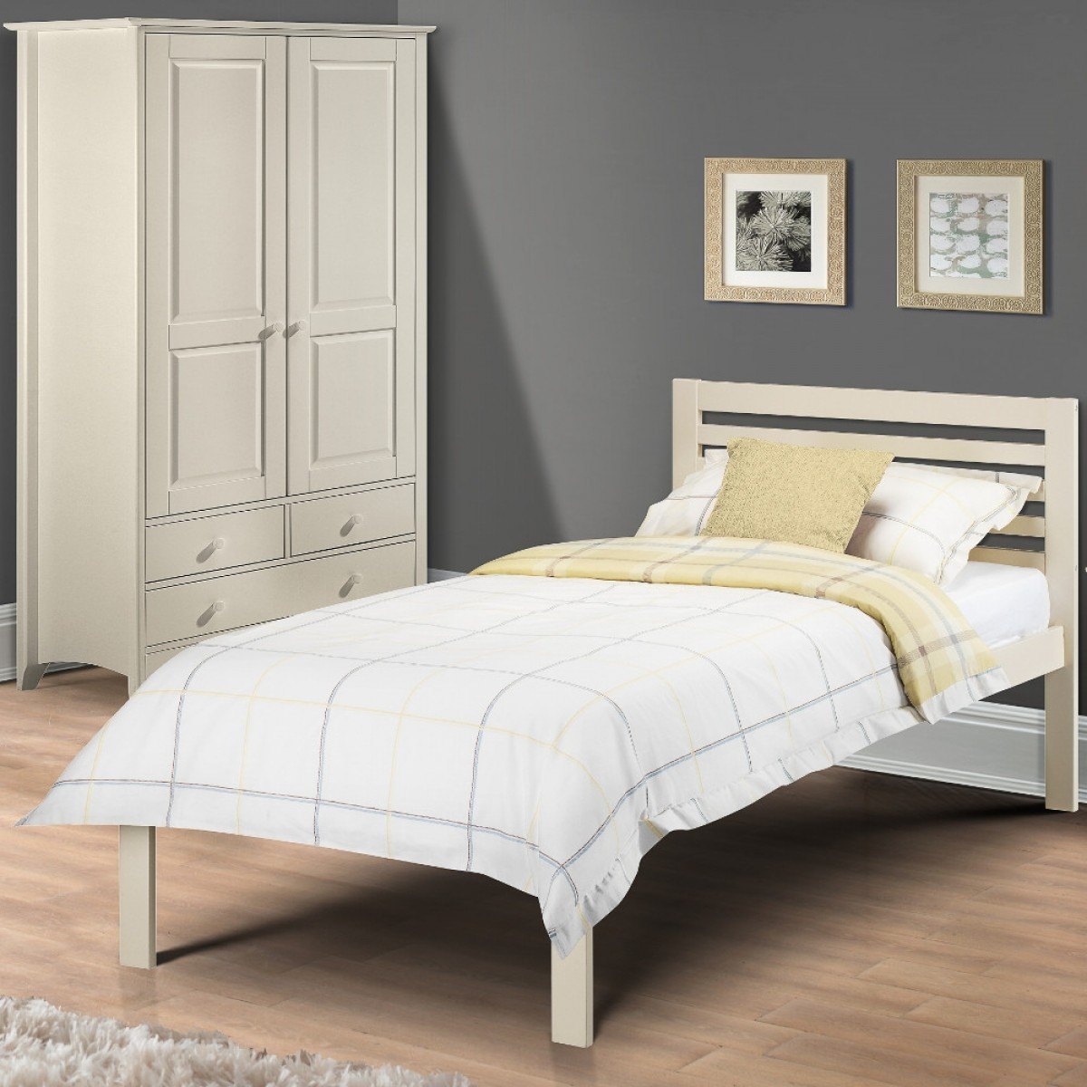 Slocum Stone White Finish Solid Pine Wooden Bed