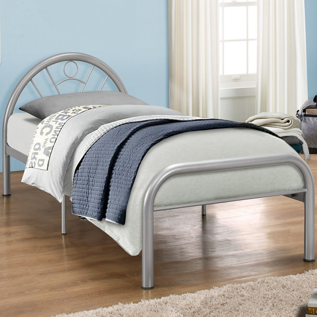Solo Silver Finish Metal Bed