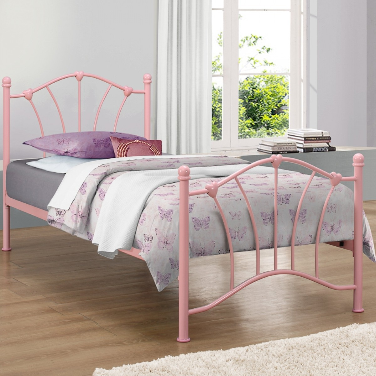 Sophia Pink Metal Bed