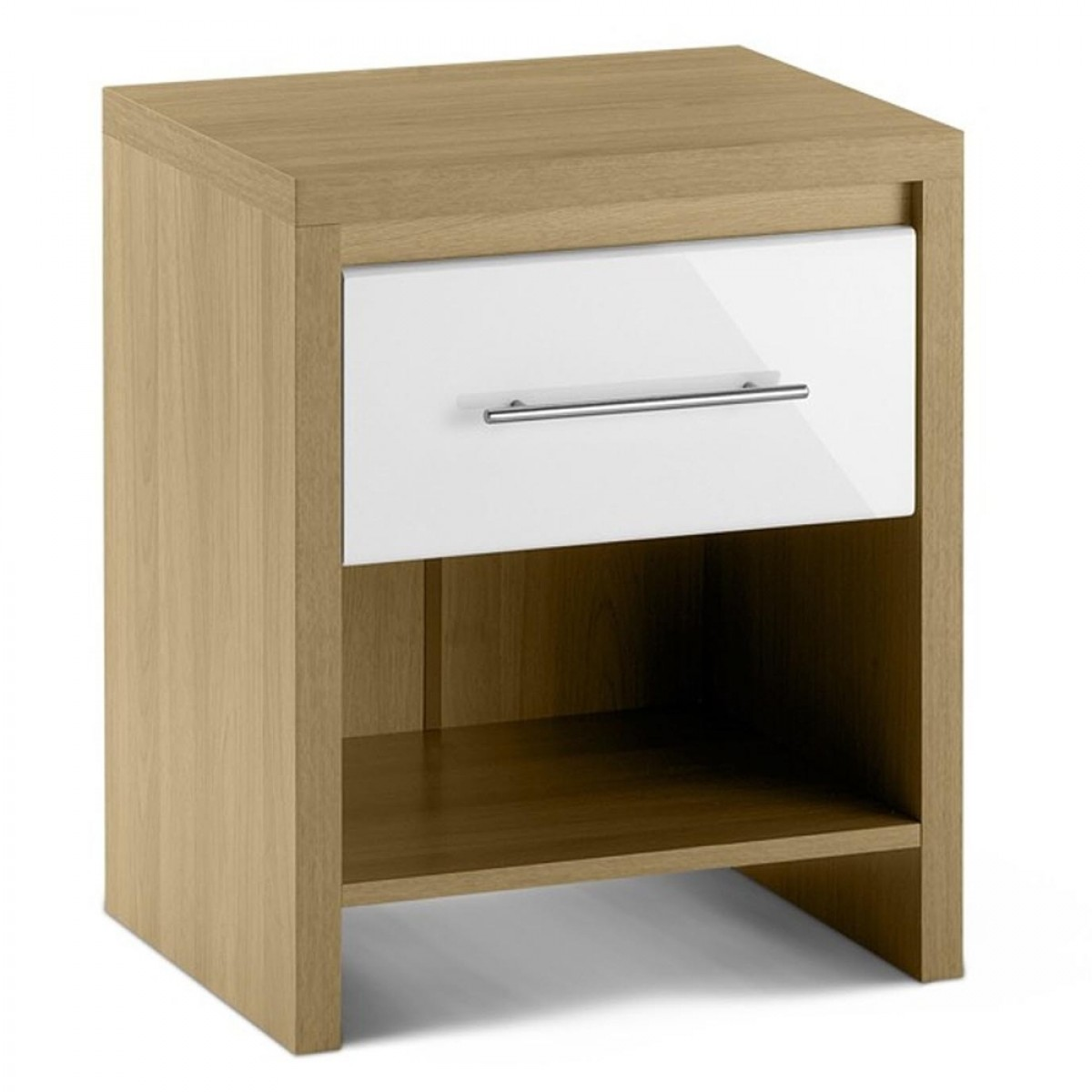 Stockholm Gloss White And Light Oak 1 Drawer Bedside Table