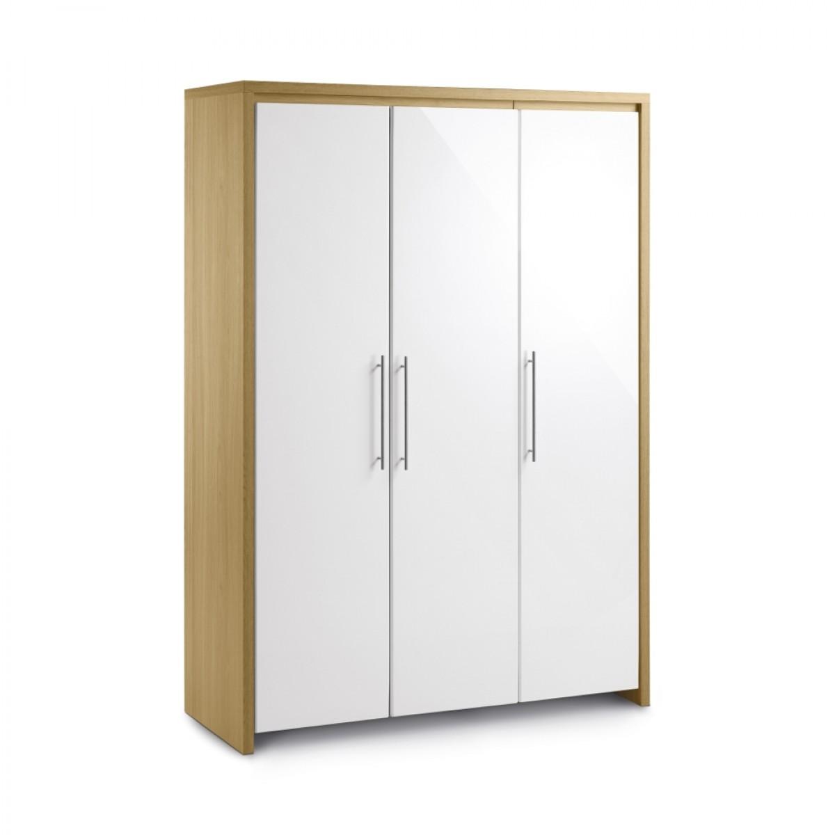 Stockholm Gloss White and Light Oak 3 Door All Hanging Wardrobe