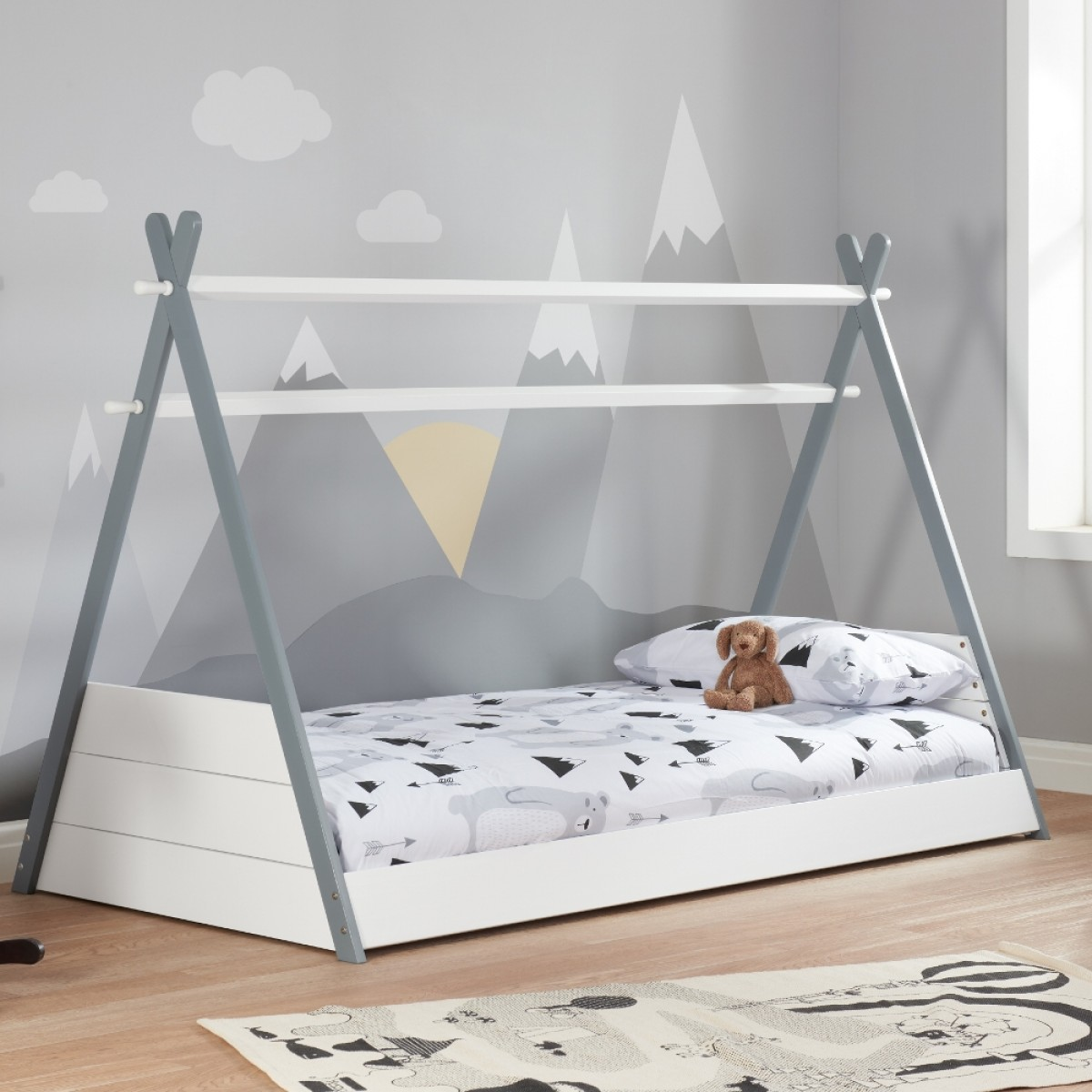 Teepee White and Grey Wooden Bed
