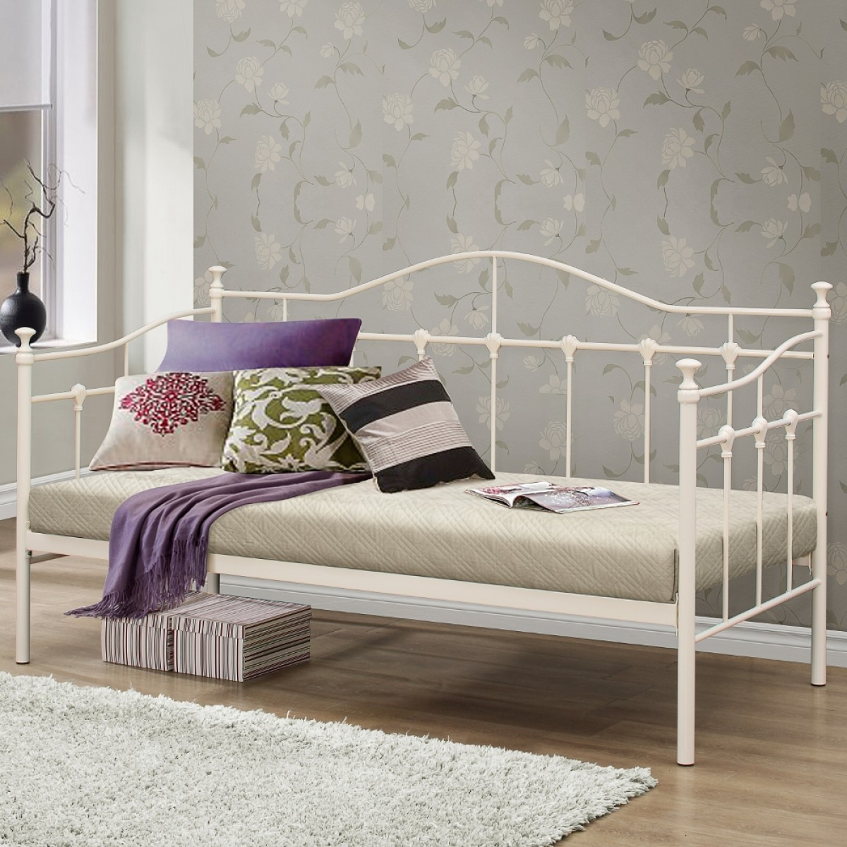 Torino Cream Metal Day Bed - 3ft Single