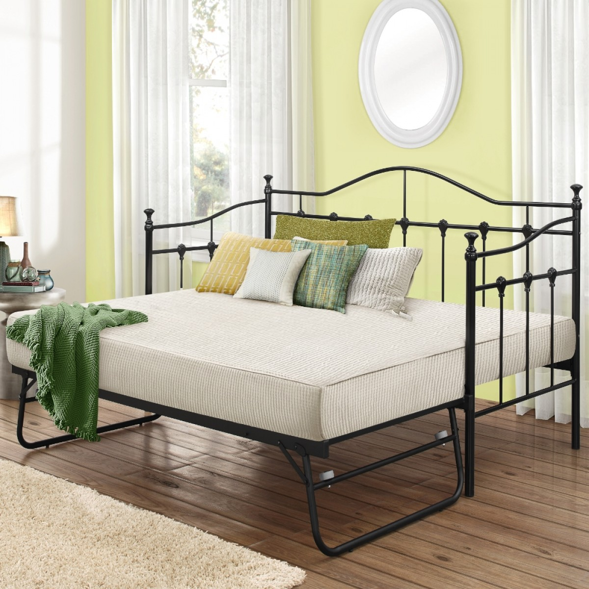 Torino Black Metal Guest Bed with Trundle