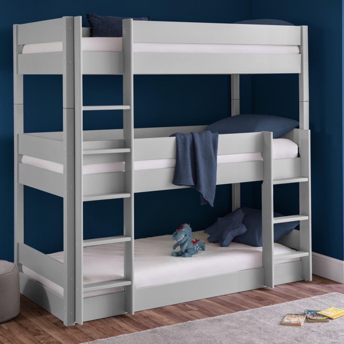 Trio Grey Wooden Triple Sleeper Bunk Bed