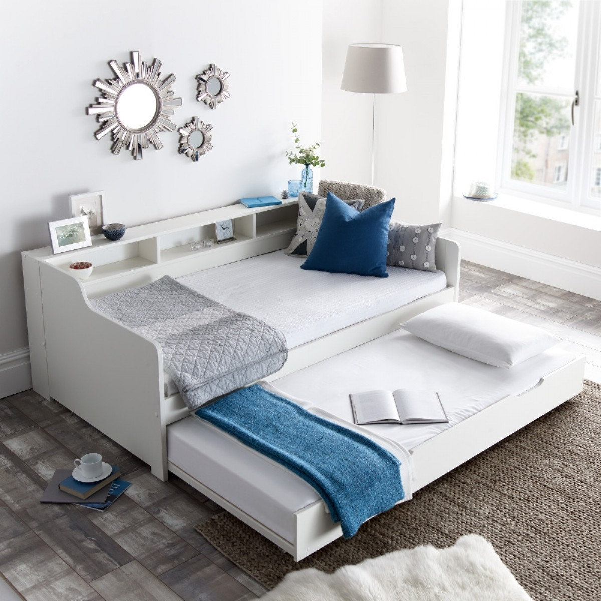 Tyler White Wooden Day Bed with Guest Bed Trundle