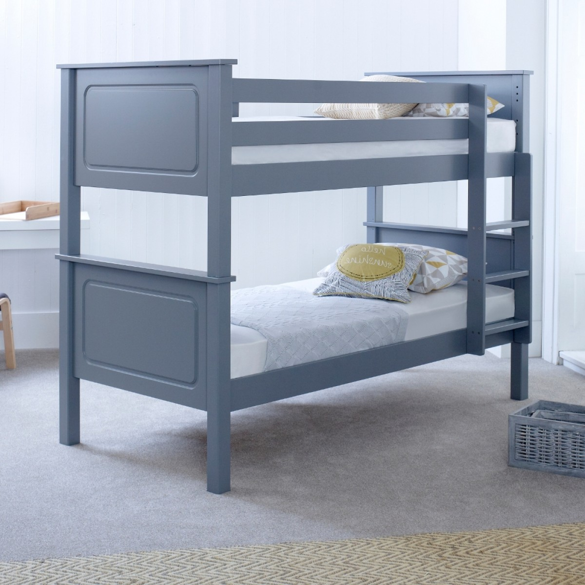 Vancouver Grey Solid Pine Wooden Bunk Bed Frame