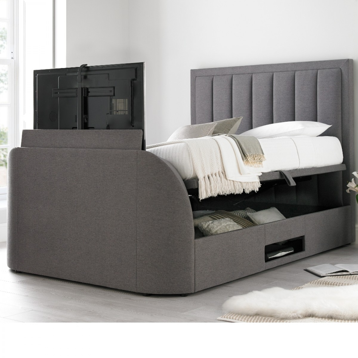 Outstanding Ventura Grey Fabric Ottoman Tv Bed Forskolin Free Trial Chair Design Images Forskolin Free Trialorg