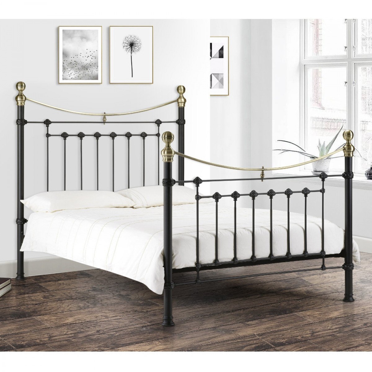 Victoria Satin Black Metal Bed