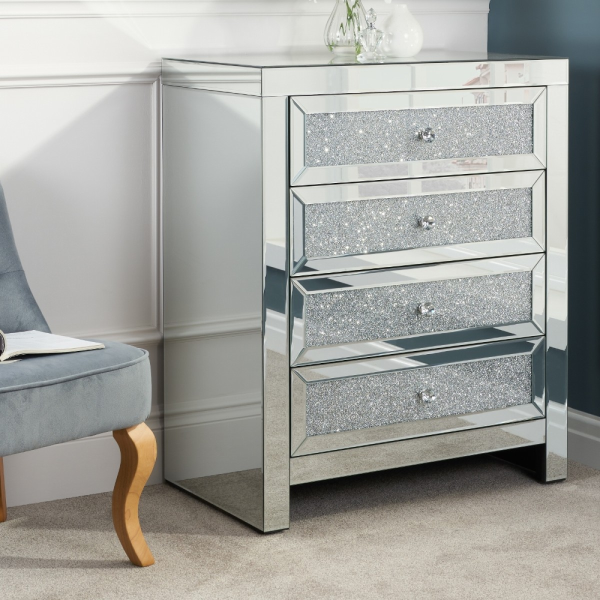 Vienna Mirrored 4 Drawer Chest