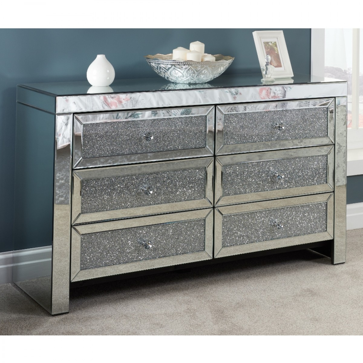 Vienna Mirrored 6 Drawer Chest