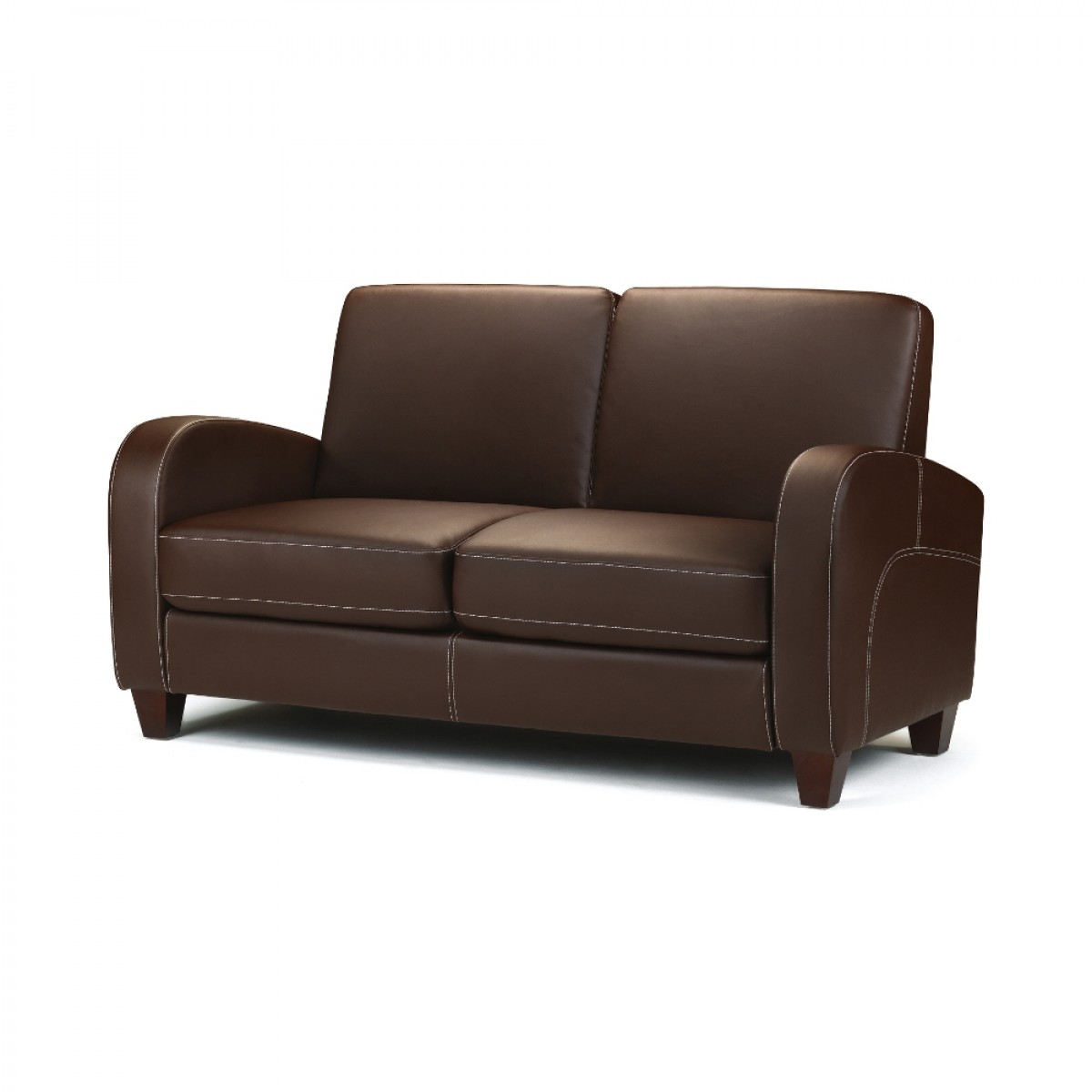 2 Seater Leather Sofa Brown: Vivo Brown Faux Leather 2 Seater Sofa