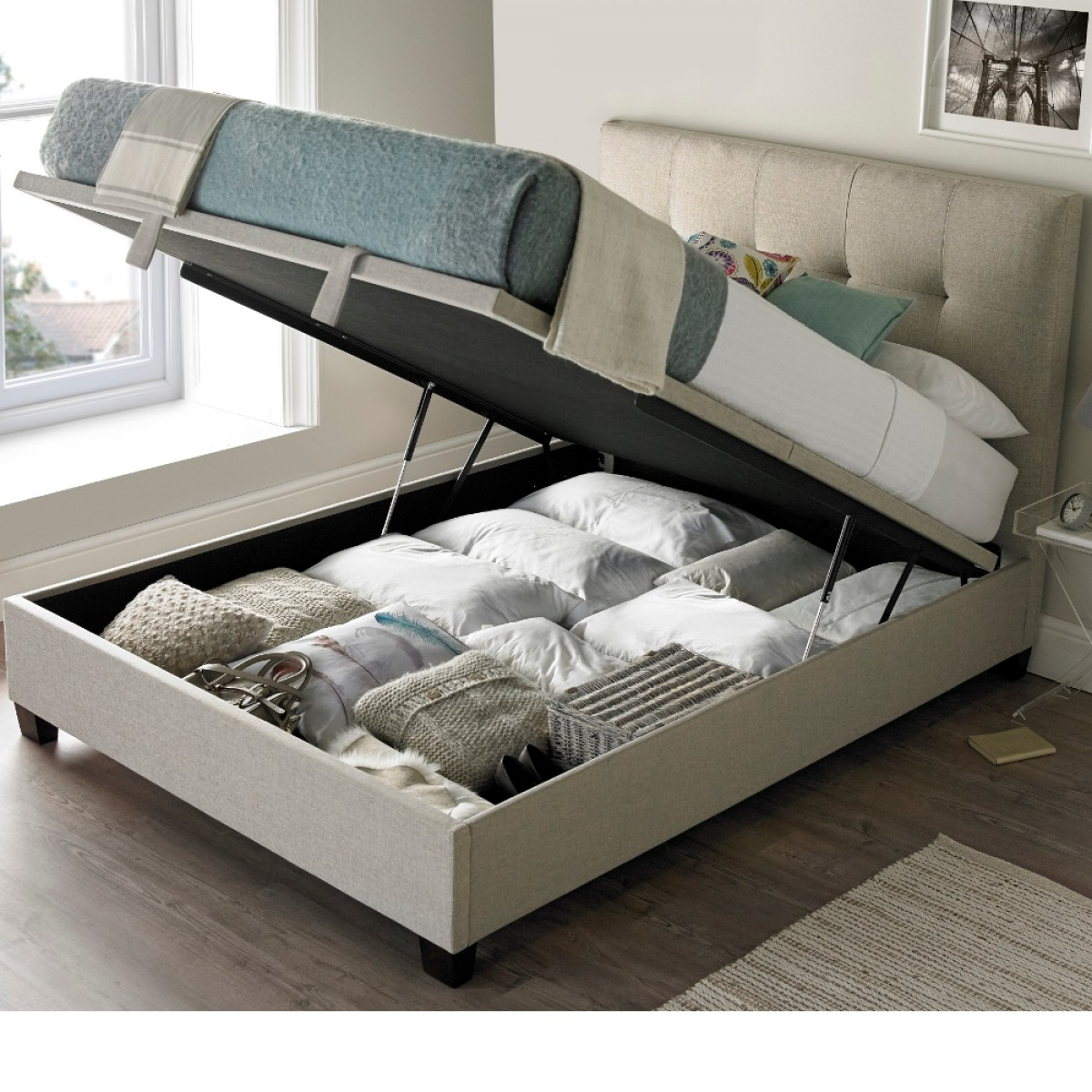Walkworth Oatmeal Fabric Ottoman Storage Bed