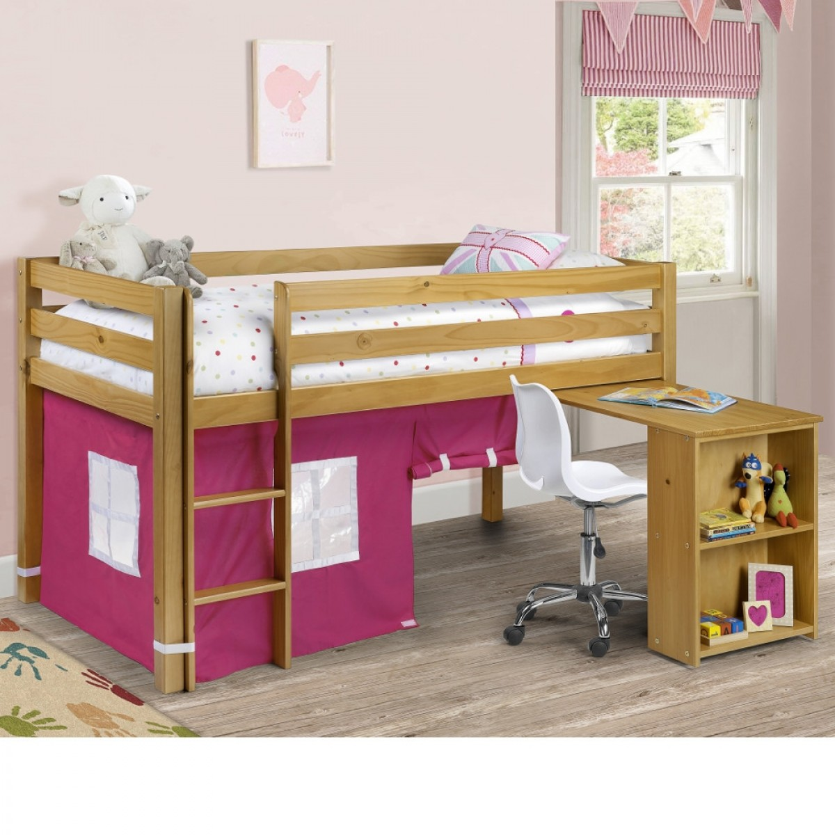 Wendy Solid Pine Mid Sleeper with Pink Tent