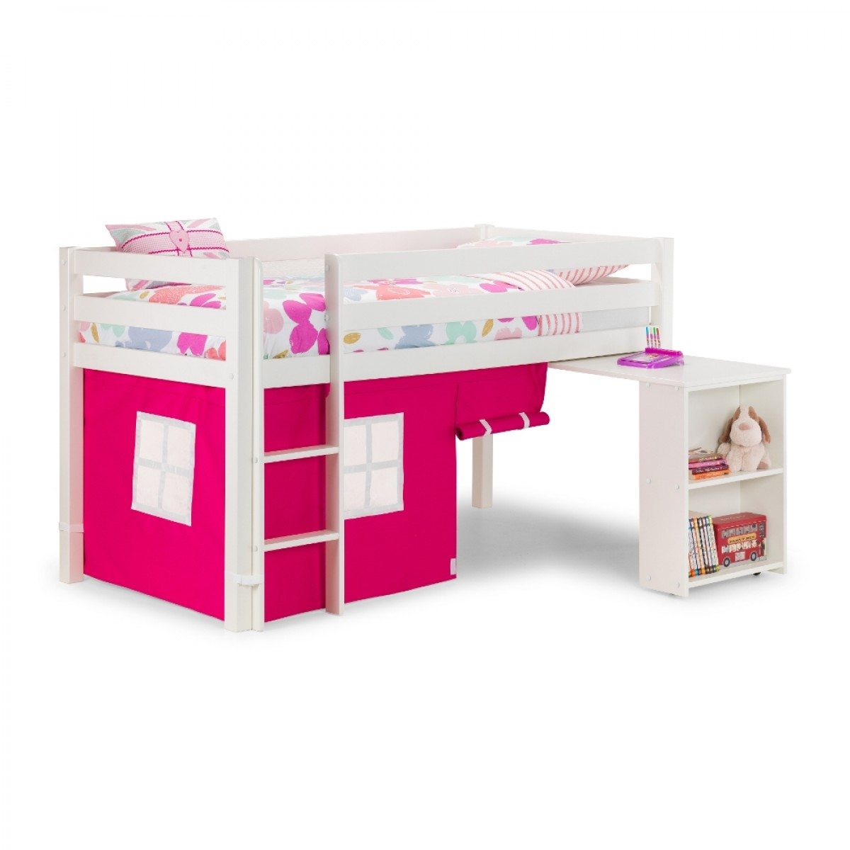 Wendy White Wooden Mid Sleeper With Pink Tent