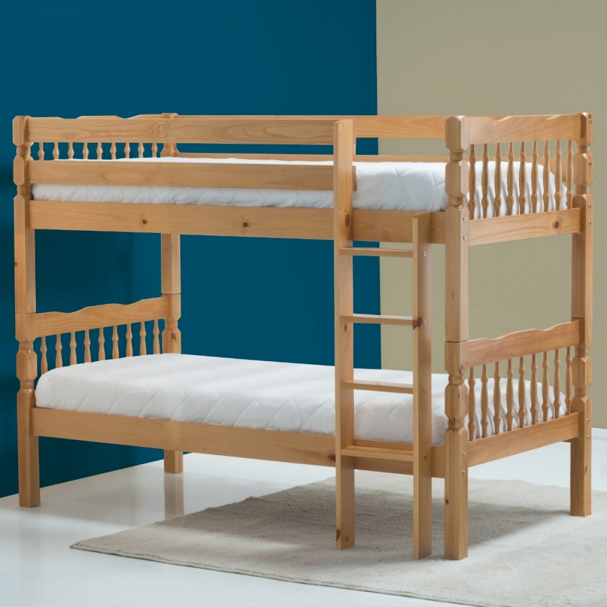 Weston Antique Solid Pine Wooden Bunk Bed
