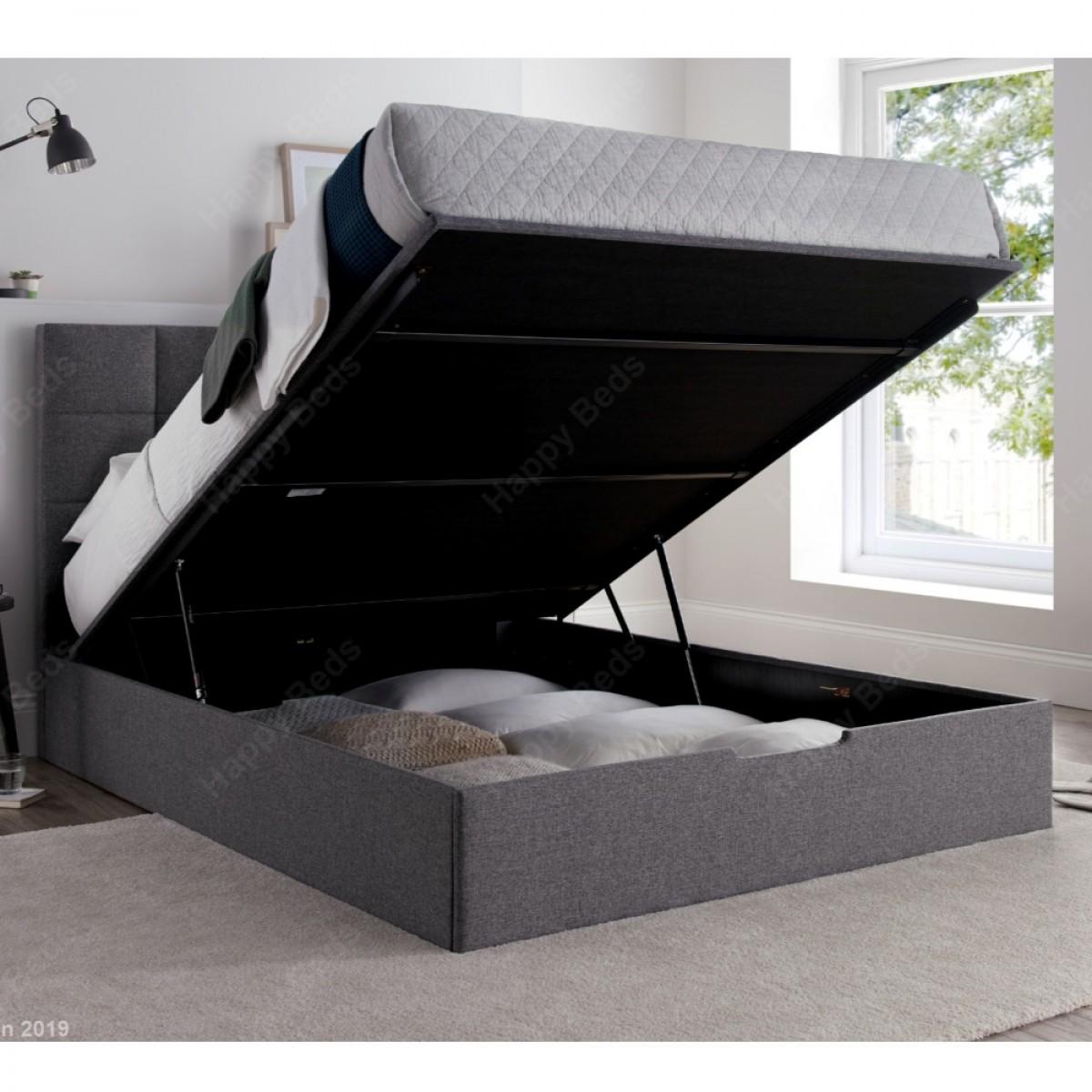 Whitburn Grey Fabric Ottoman Storage Bed
