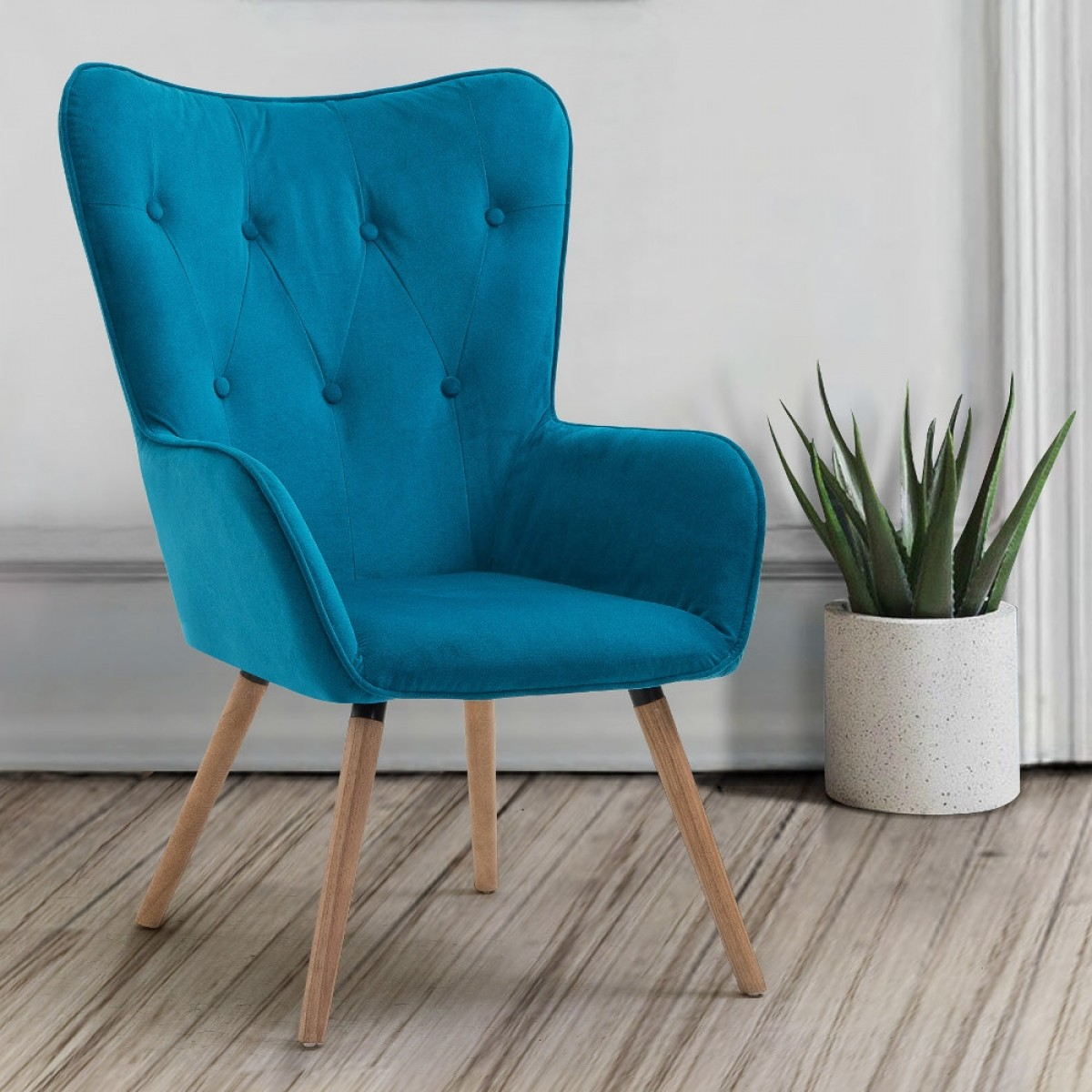 Willow Sapphire Velvet Fabric Chair