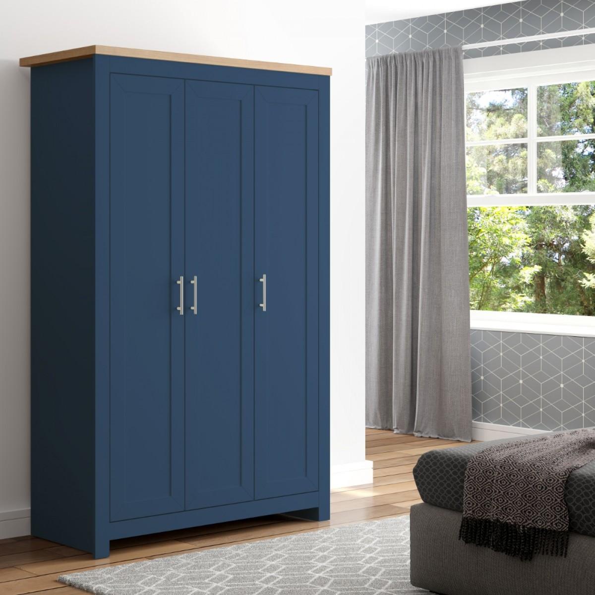 Winchester Navy Blue and Oak Wooden 3 Door Wardrobe