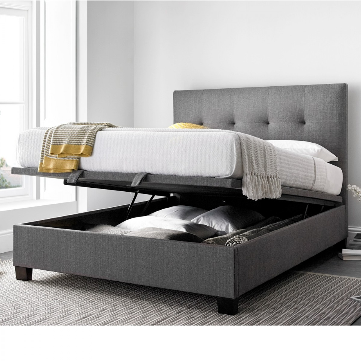 Groovy Yorkie Grey Fabric Ottoman Bed Creativecarmelina Interior Chair Design Creativecarmelinacom