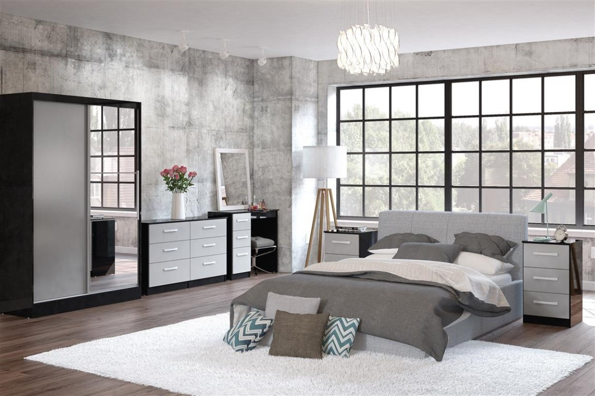 Lynx Black and Grey Wooden Bedroom Furniture Collections