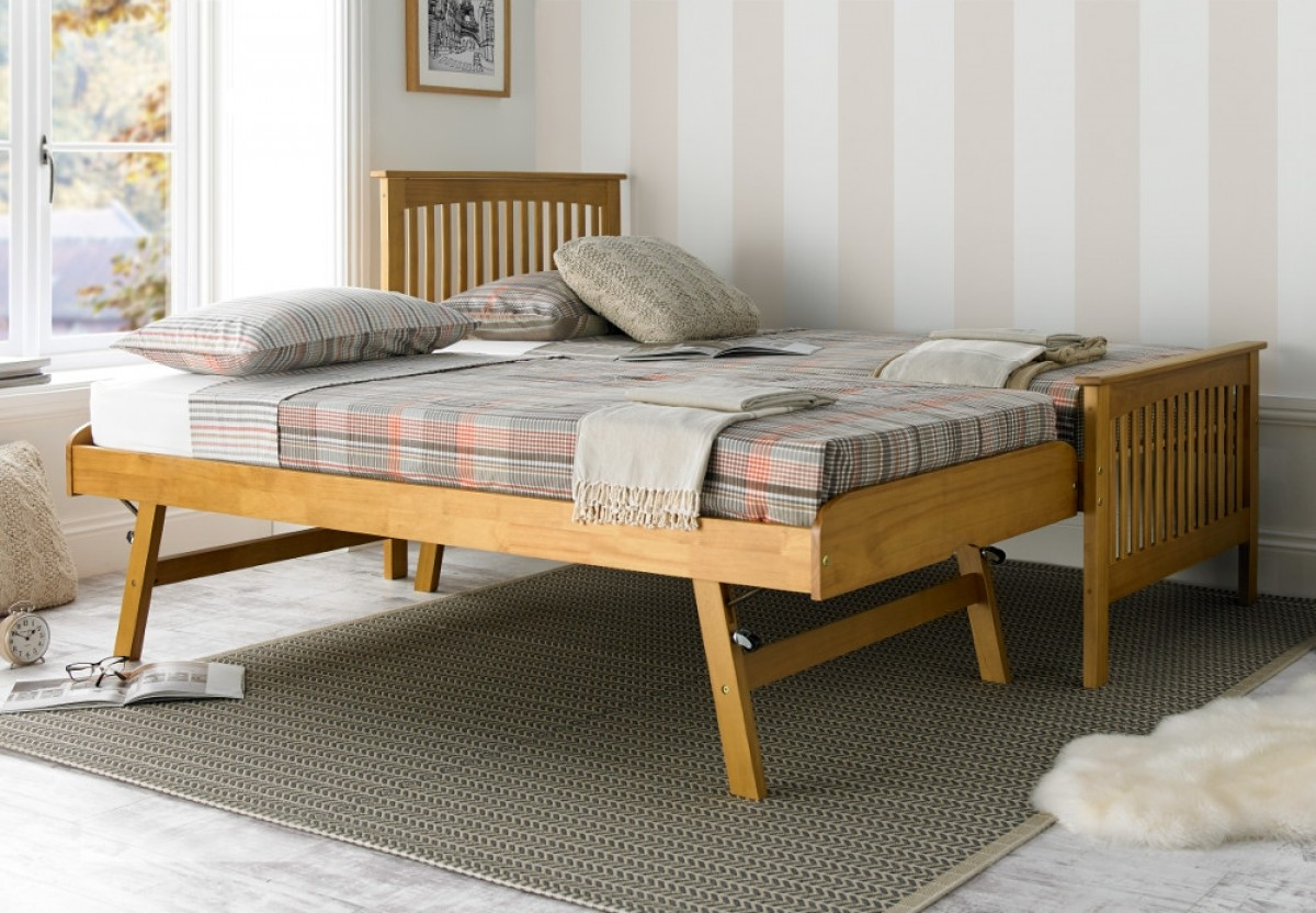 Toronto Oak Finish Wooden Guest Bed and Trundle