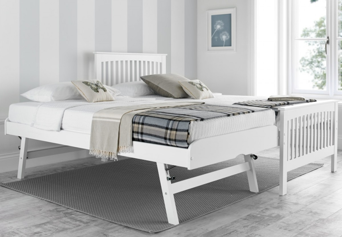 Toronto White Wooden Guest Bed and Trundle