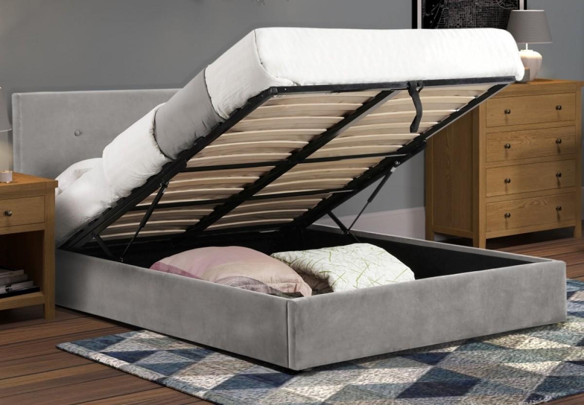 Shoreditch Grey Velvet Ottoman Storage Bed