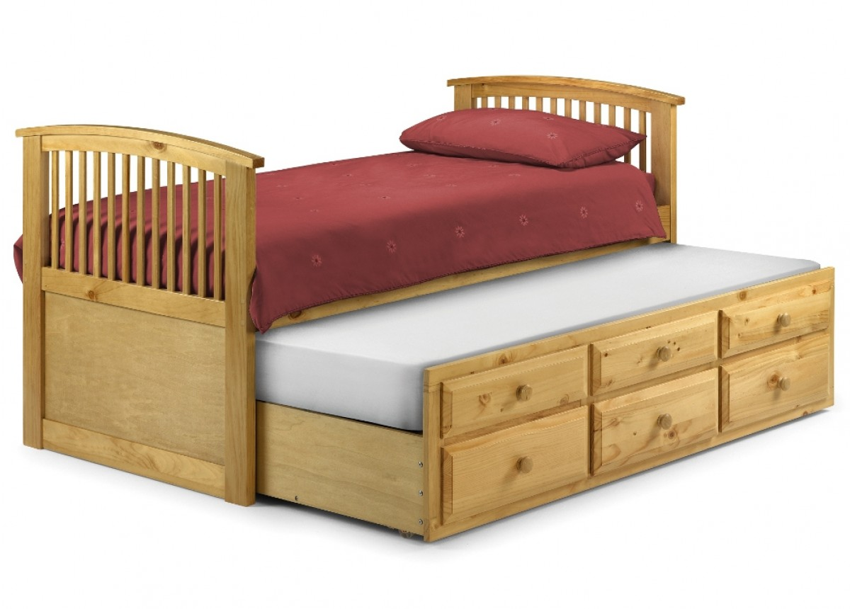 Hornblower Pine Finish Wooden 3 Drawer Storage Guest Bed and Trundle - 3ft Single