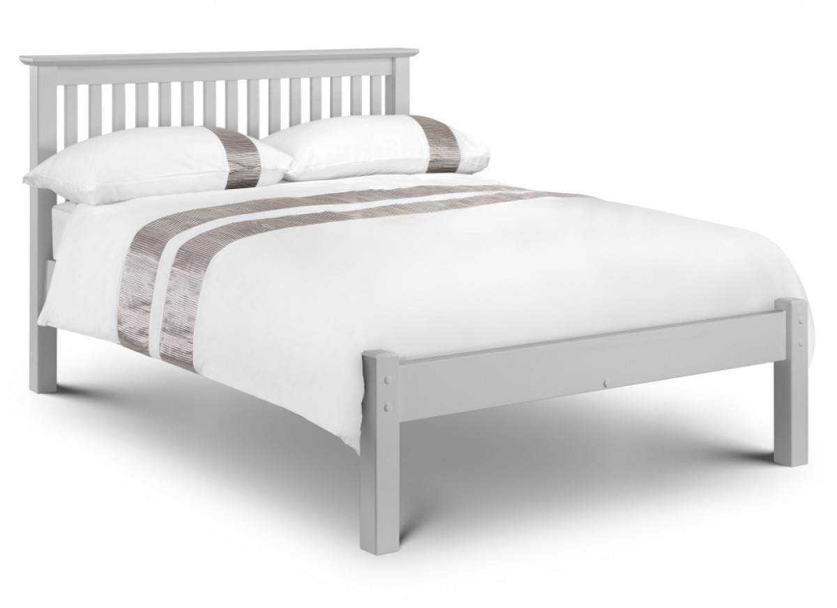 Barcelona Low Foot End Grey Finish Solid Pine Wooden Bed