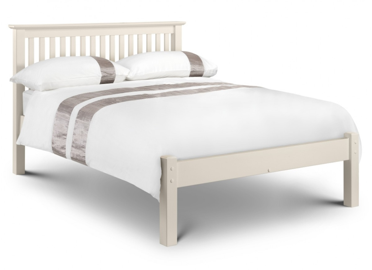 Barcelona Low Foot End Stone White Finish Solid Pine Wooden Bed