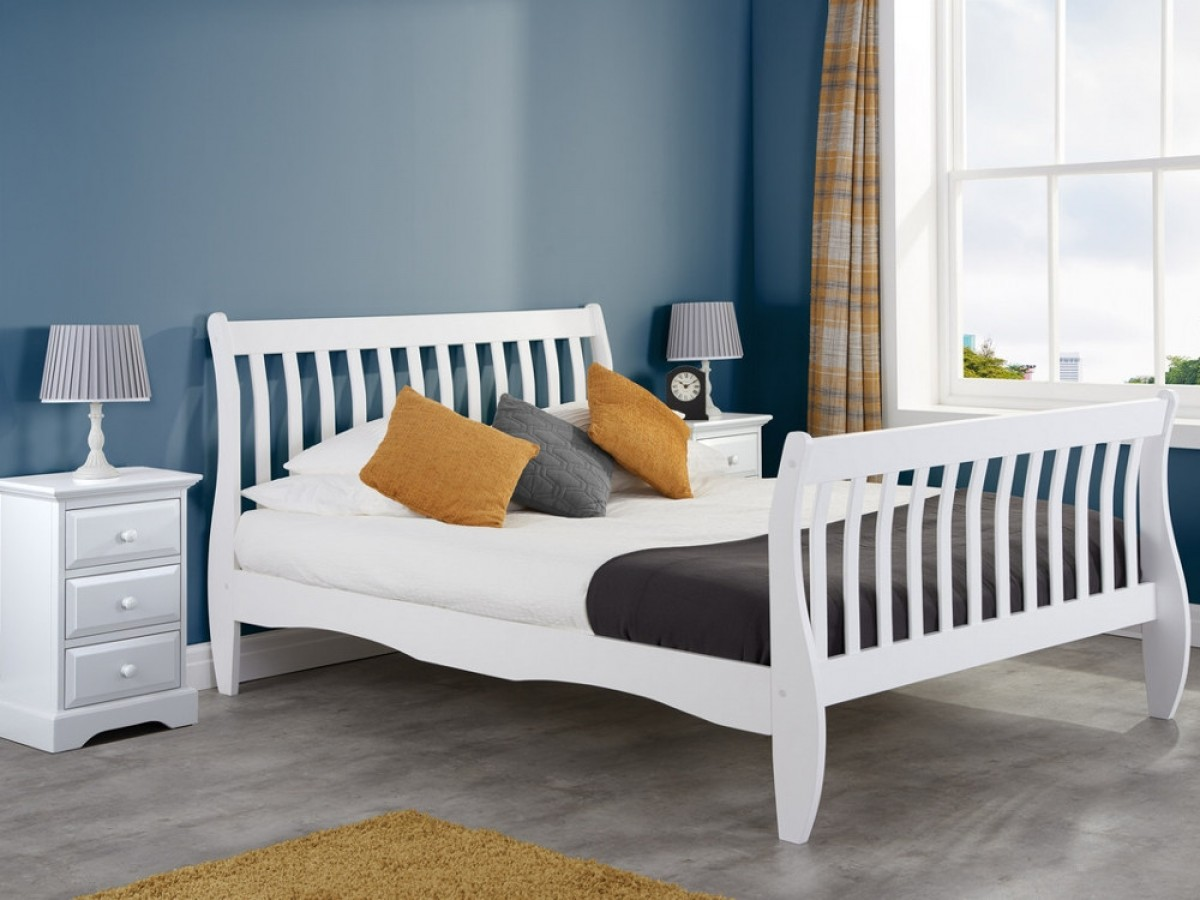 - Belford White Wooden Sleigh Bed