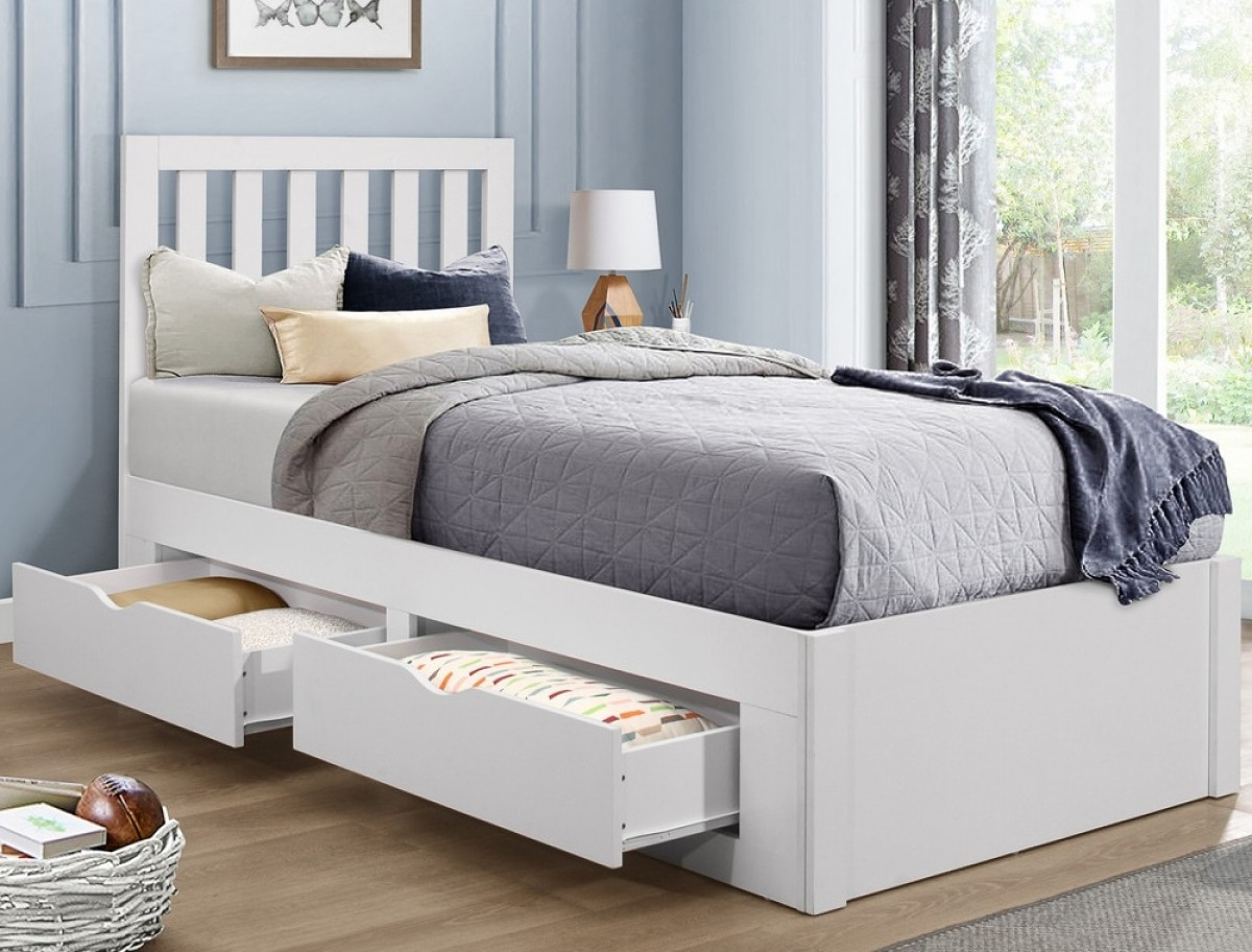 Appleby White Wooden 4 Drawer Storage Bed