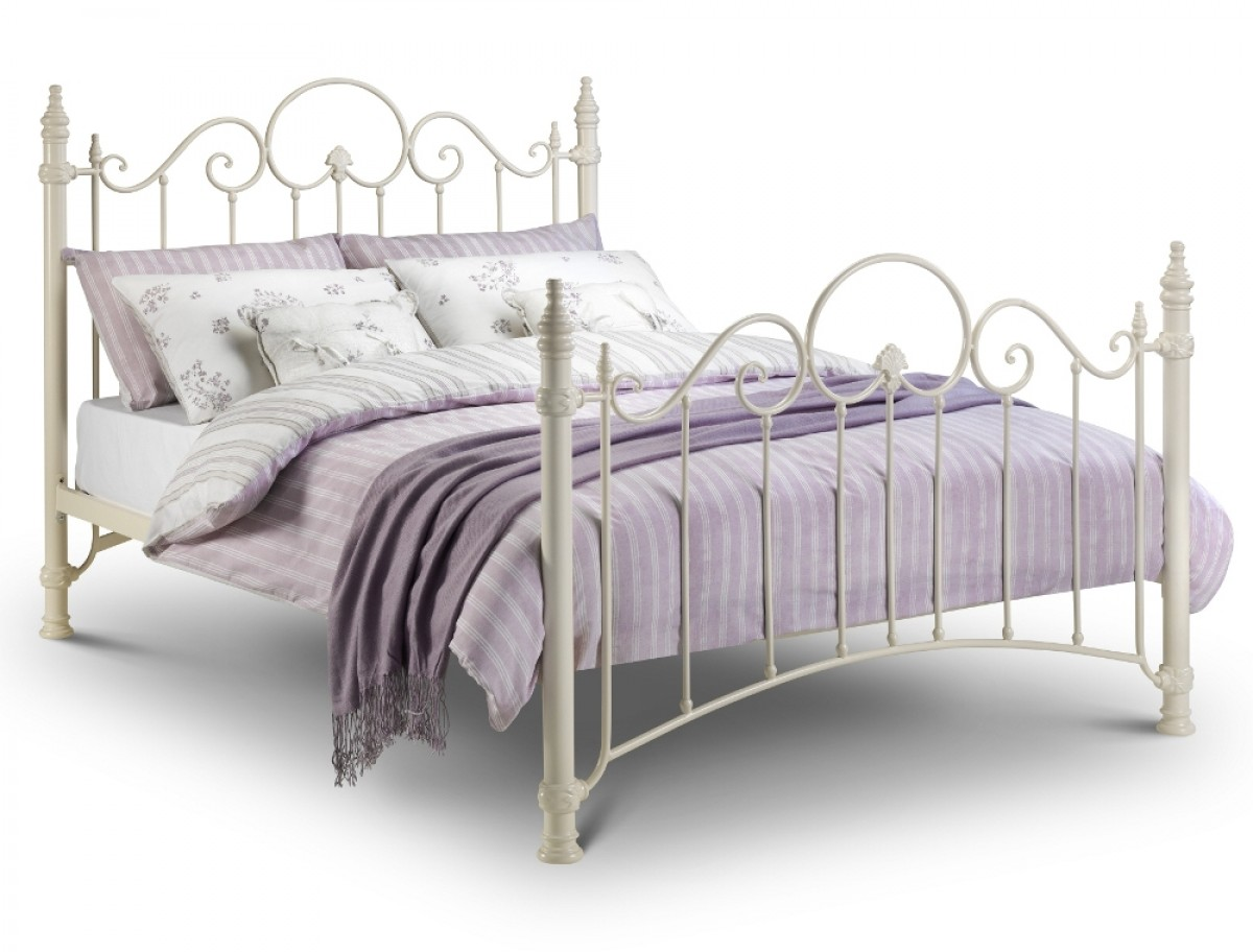 Florence Stone White Metal Bed