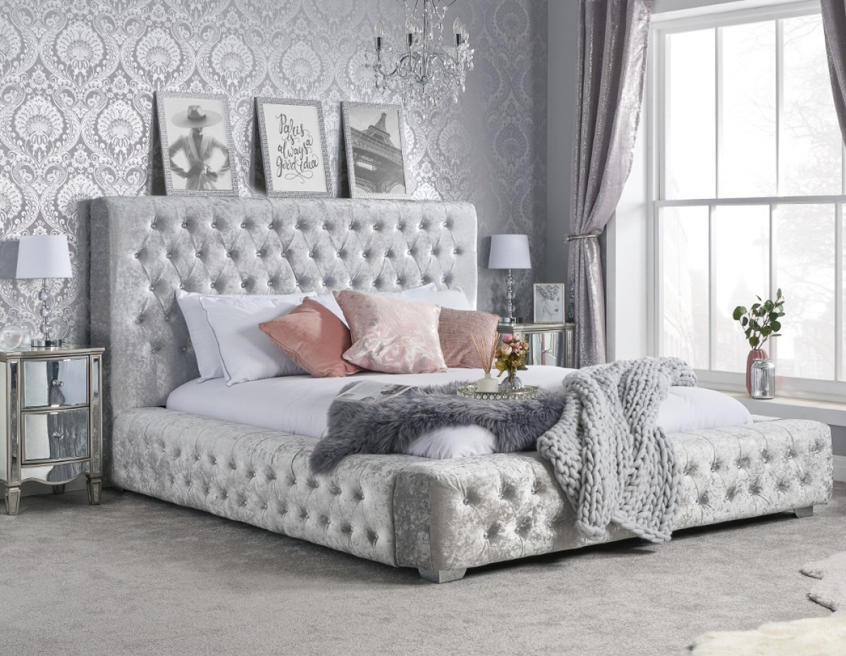 Grande Steel Crushed Velvet Fabric Bed