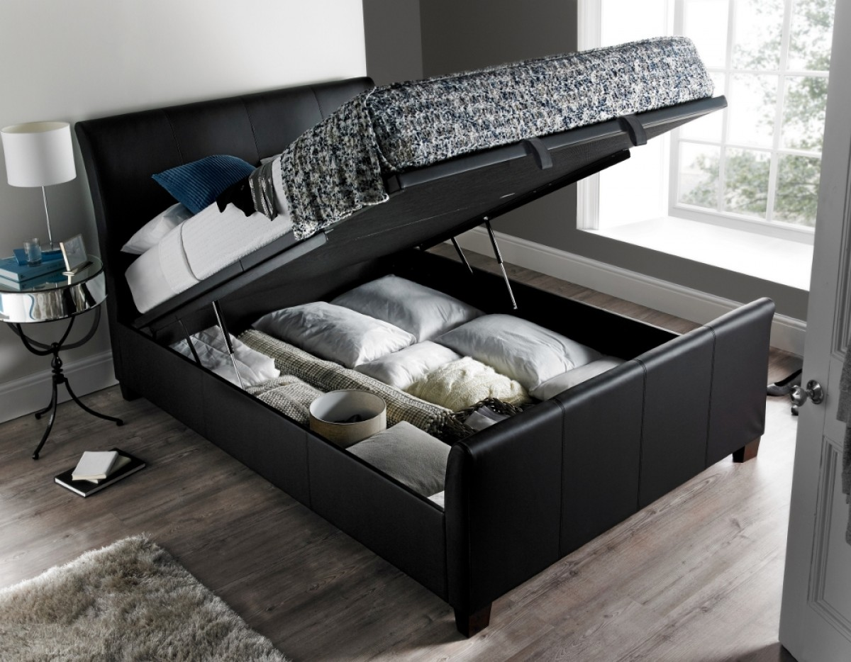 Allendale Black Faux Leather Ottoman Storage Bed