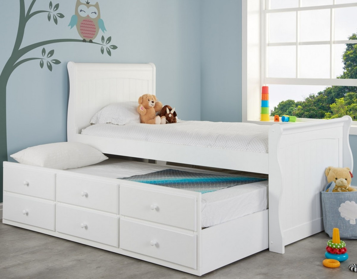 Verona White Wooden Storage Guest Bed