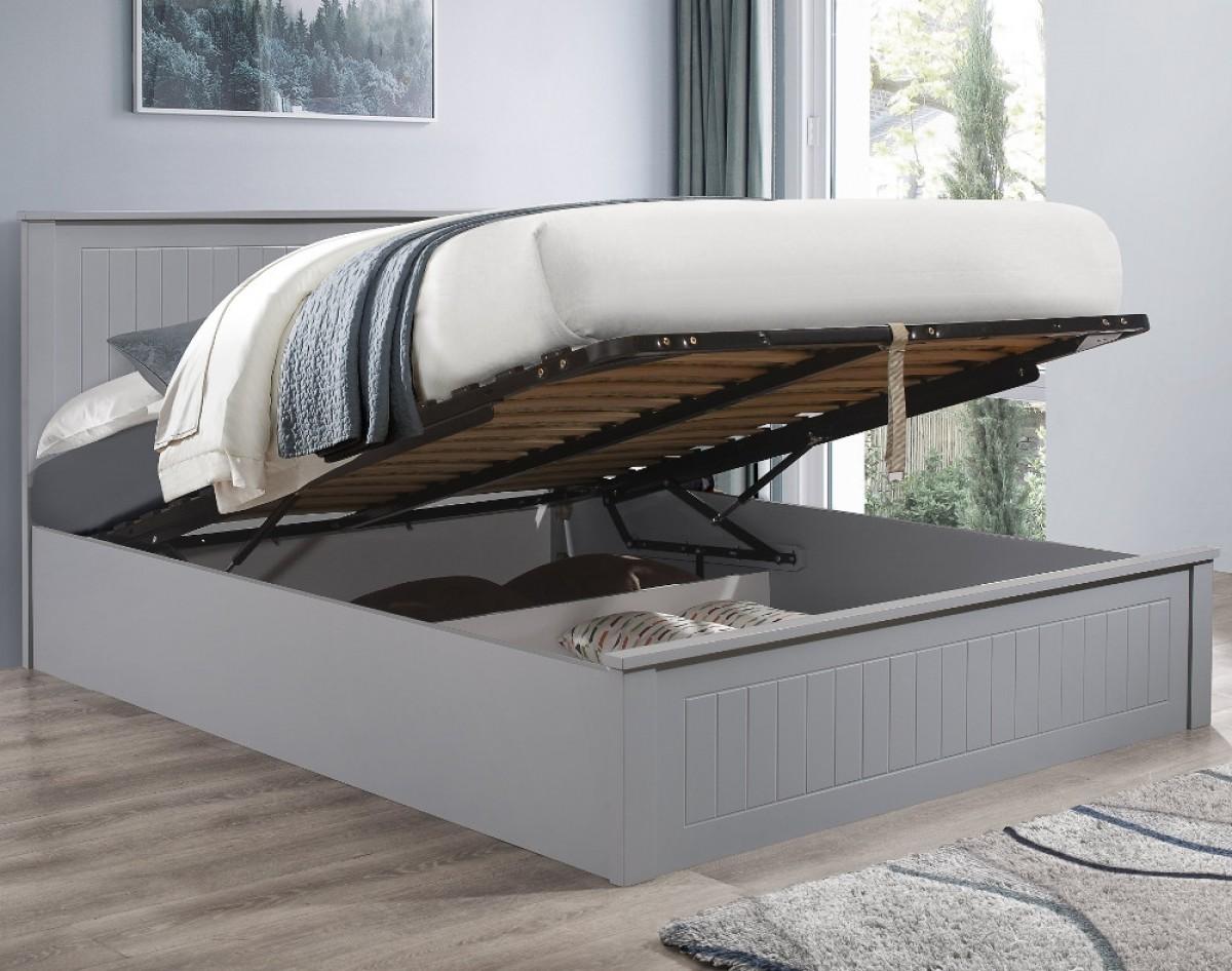 Fairmont Grey Wooden Ottoman Storage Bed
