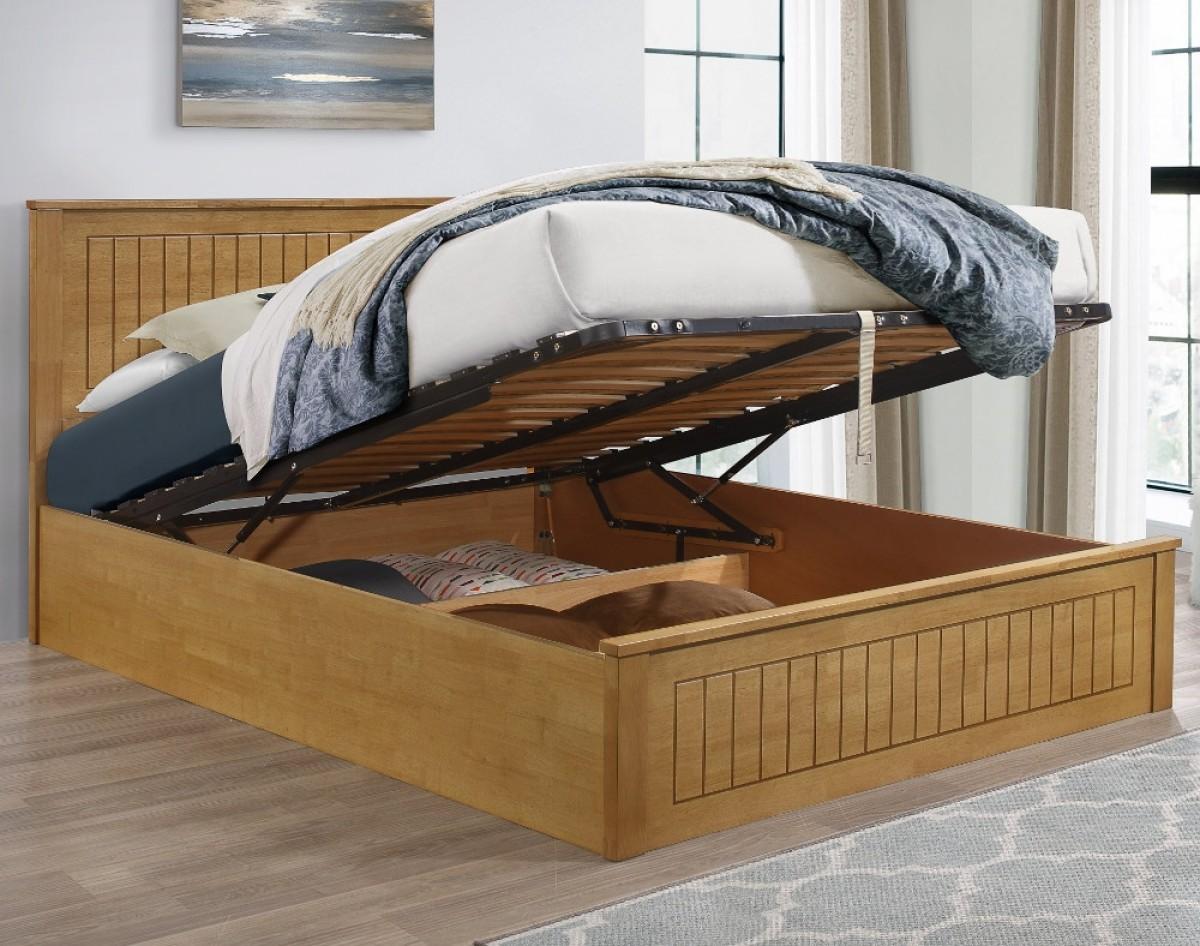 Fairmont Oak Wooden Ottoman Storage Bed