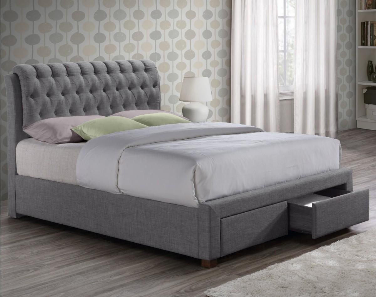 Valentino Grey Fabric 2 Drawer Storage Bed