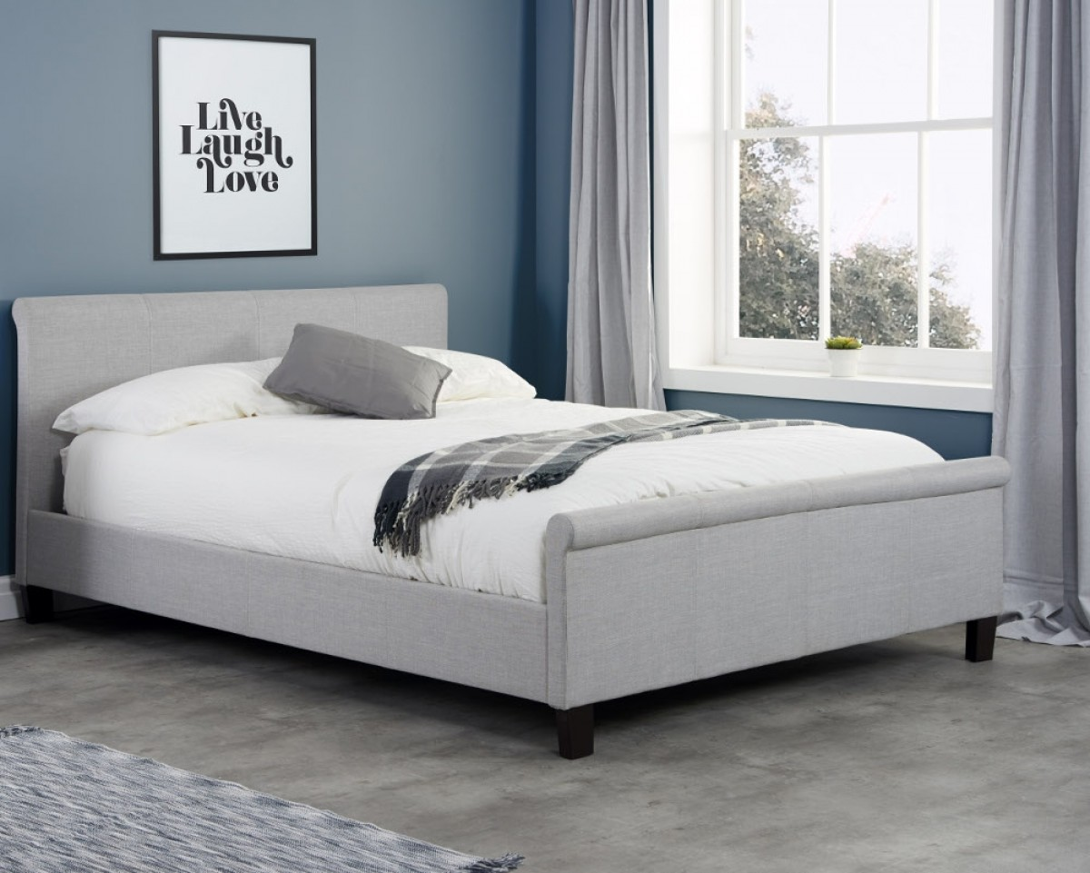 Stratus Grey Fabric Sleigh Bed
