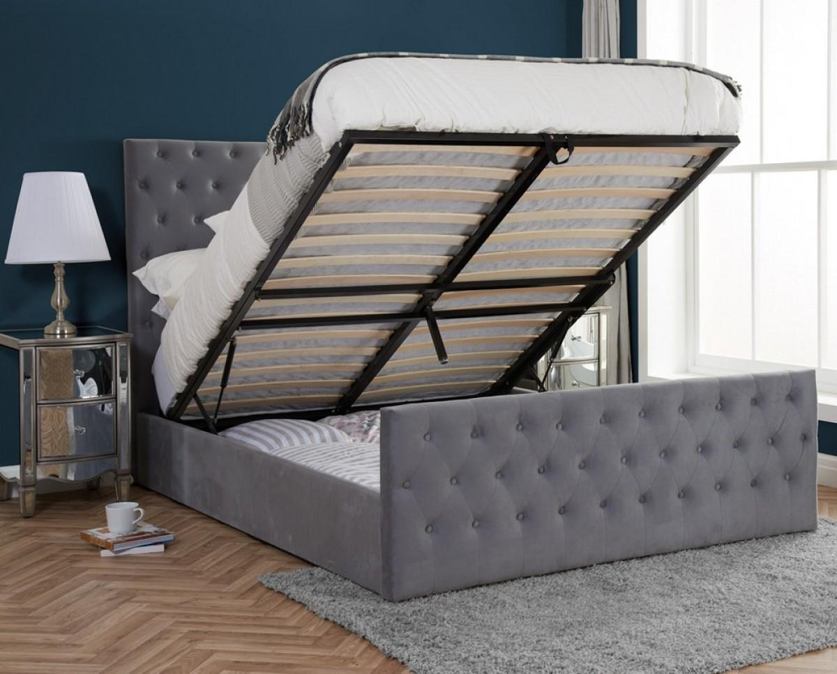 Marquis Grey Velvet Ottoman Storage Bed