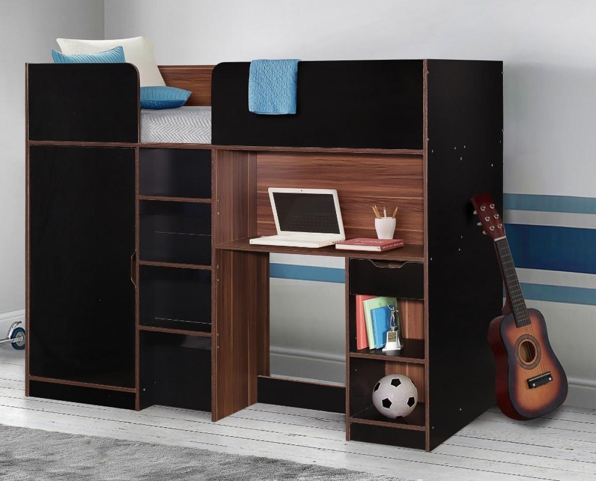 Merlin Black and Walnut Wooden High Sleeper Storage Bed