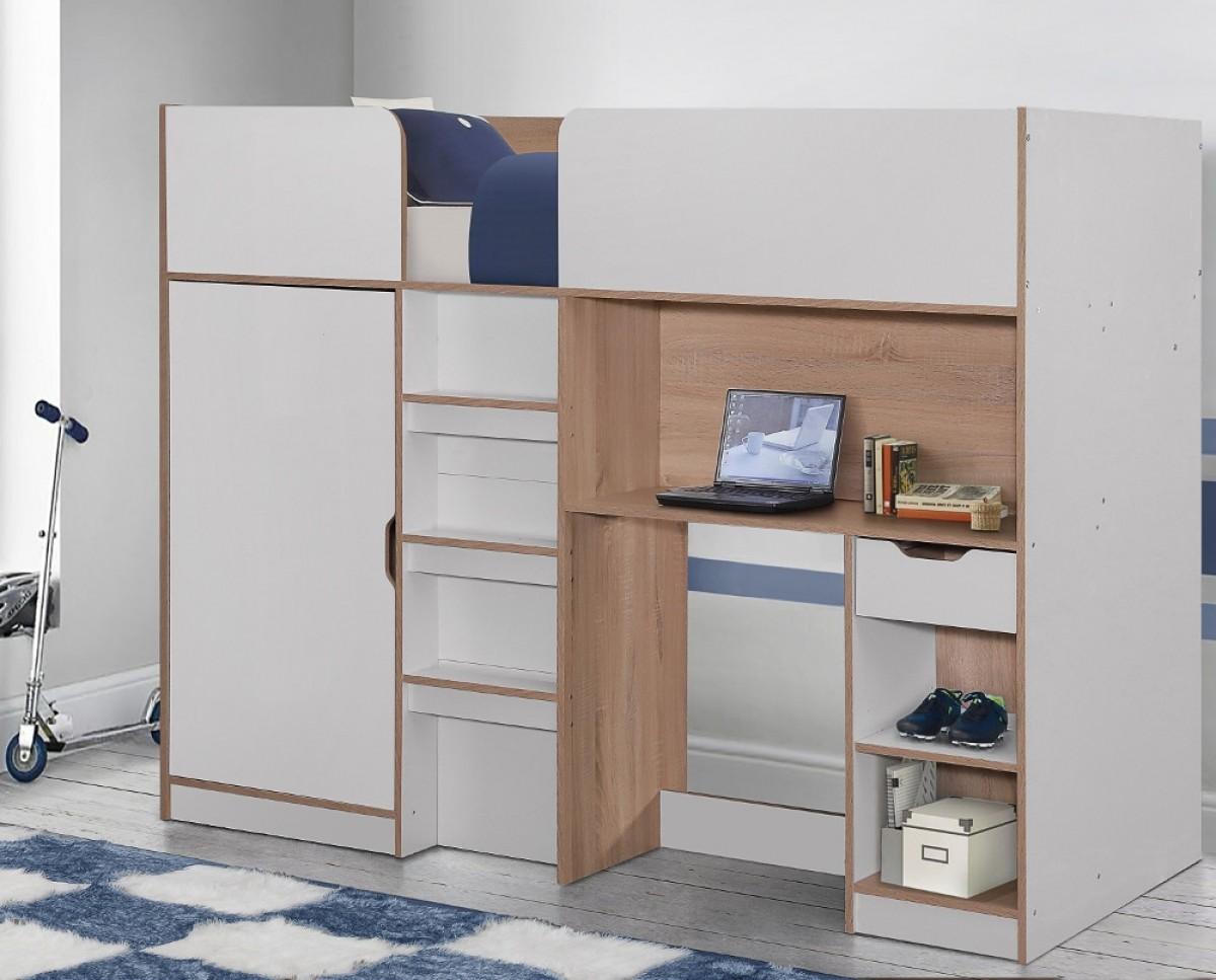 Merlin White and Oak Wooden High Sleeper Storage Bed