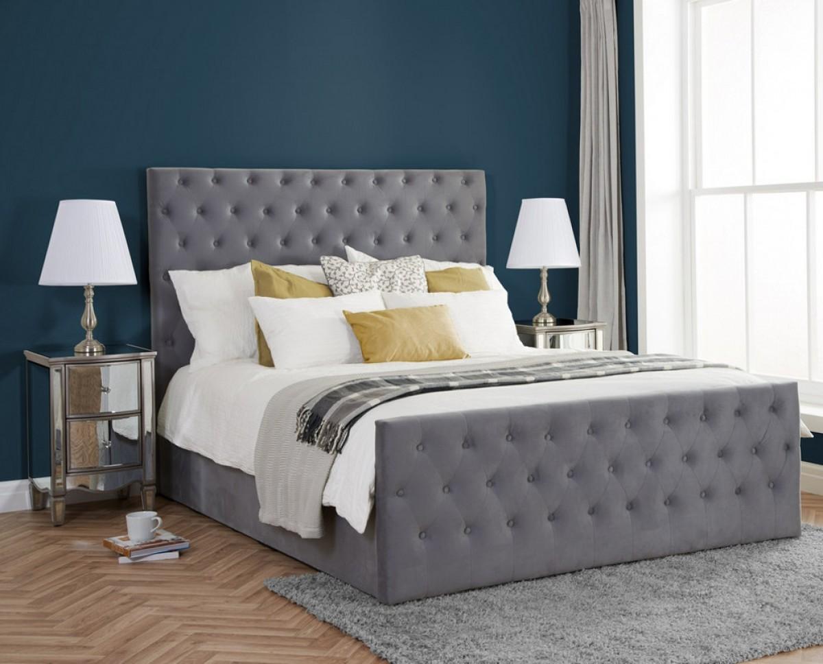 Marquis Grey Velvet Fabric Bed