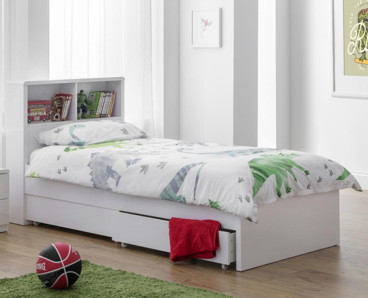 Manhattan Gloss White Wooden 2 Drawer Storage Bookcase Bed