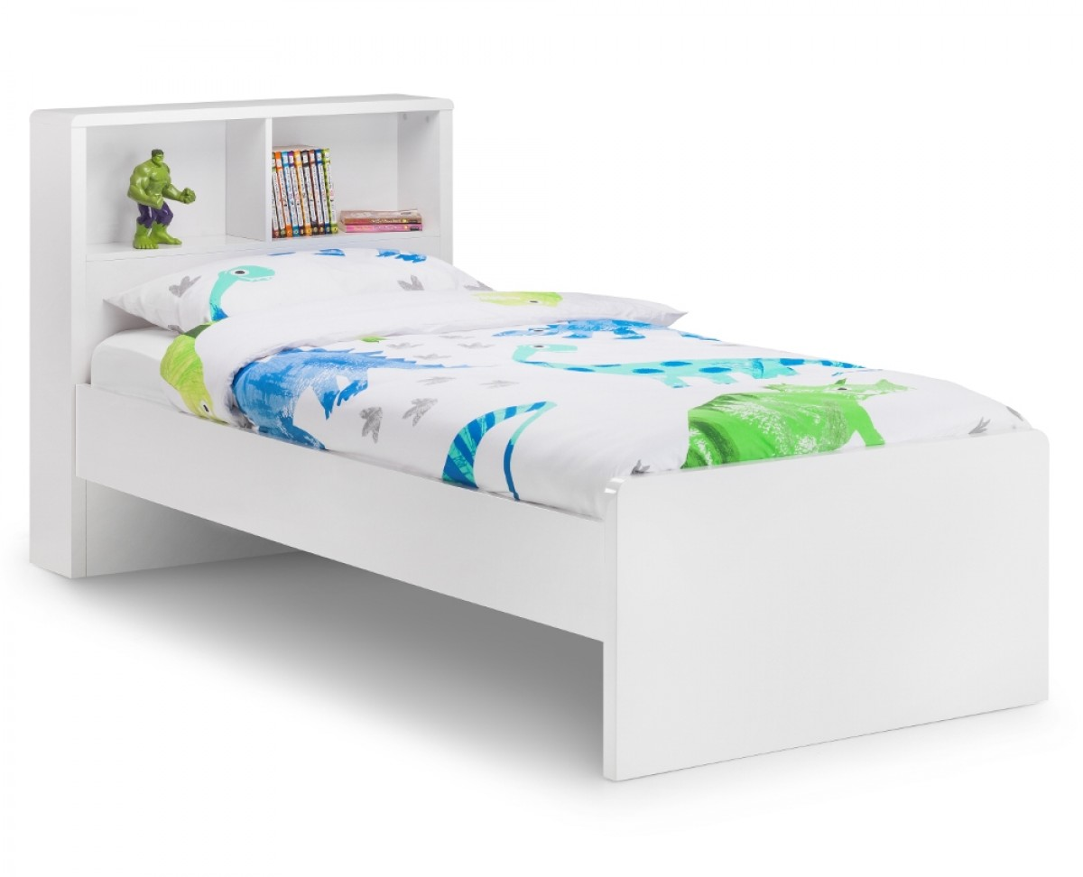 Manhattan Gloss White Wooden Bookcase Bed