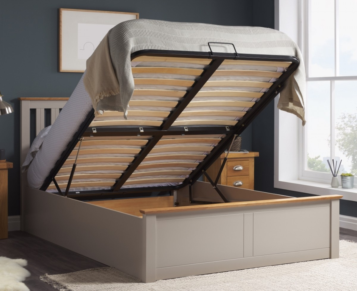 Phoenix Pearl Grey Wooden Ottoman Storage Bed