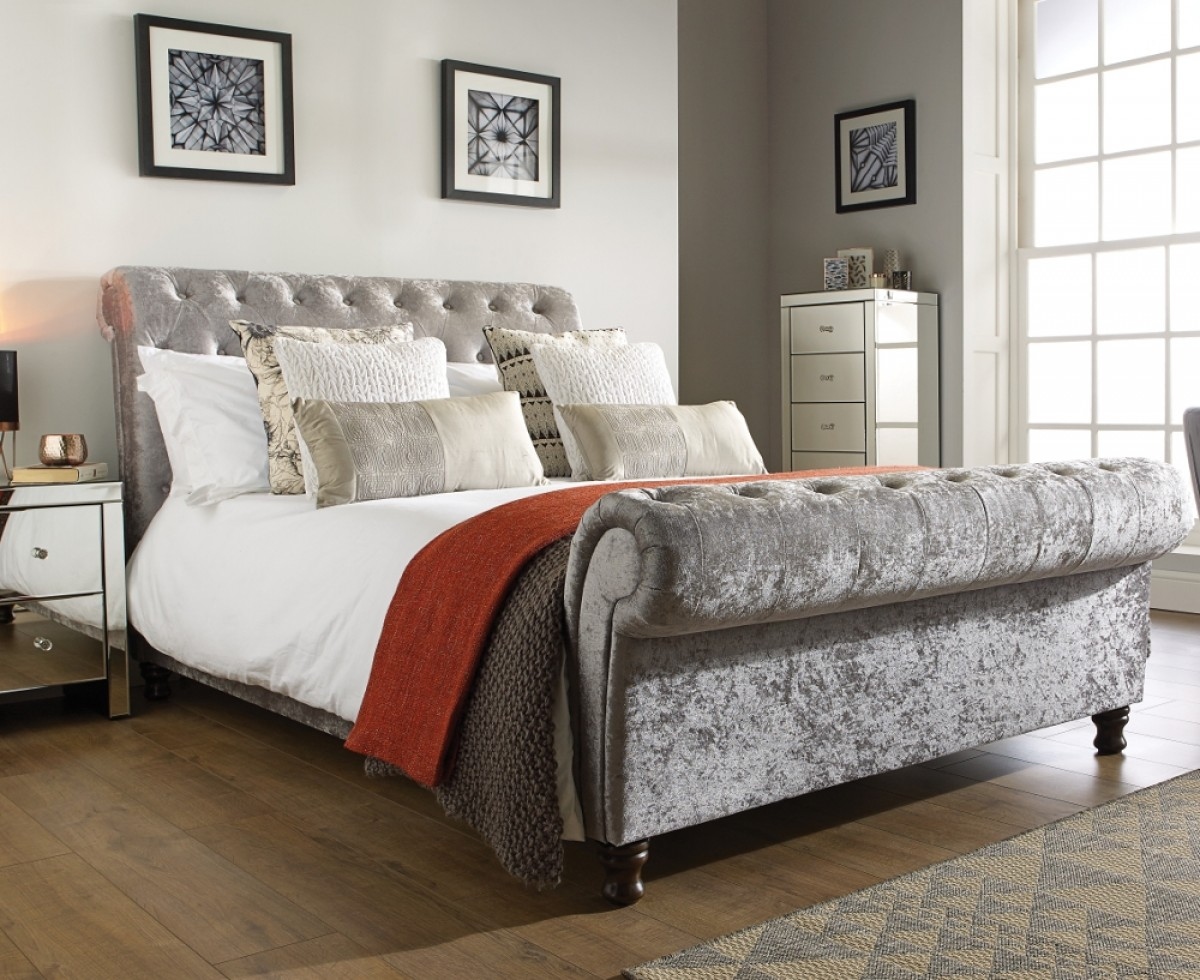 Castello Steel Fabric Scroll Sleigh Bed