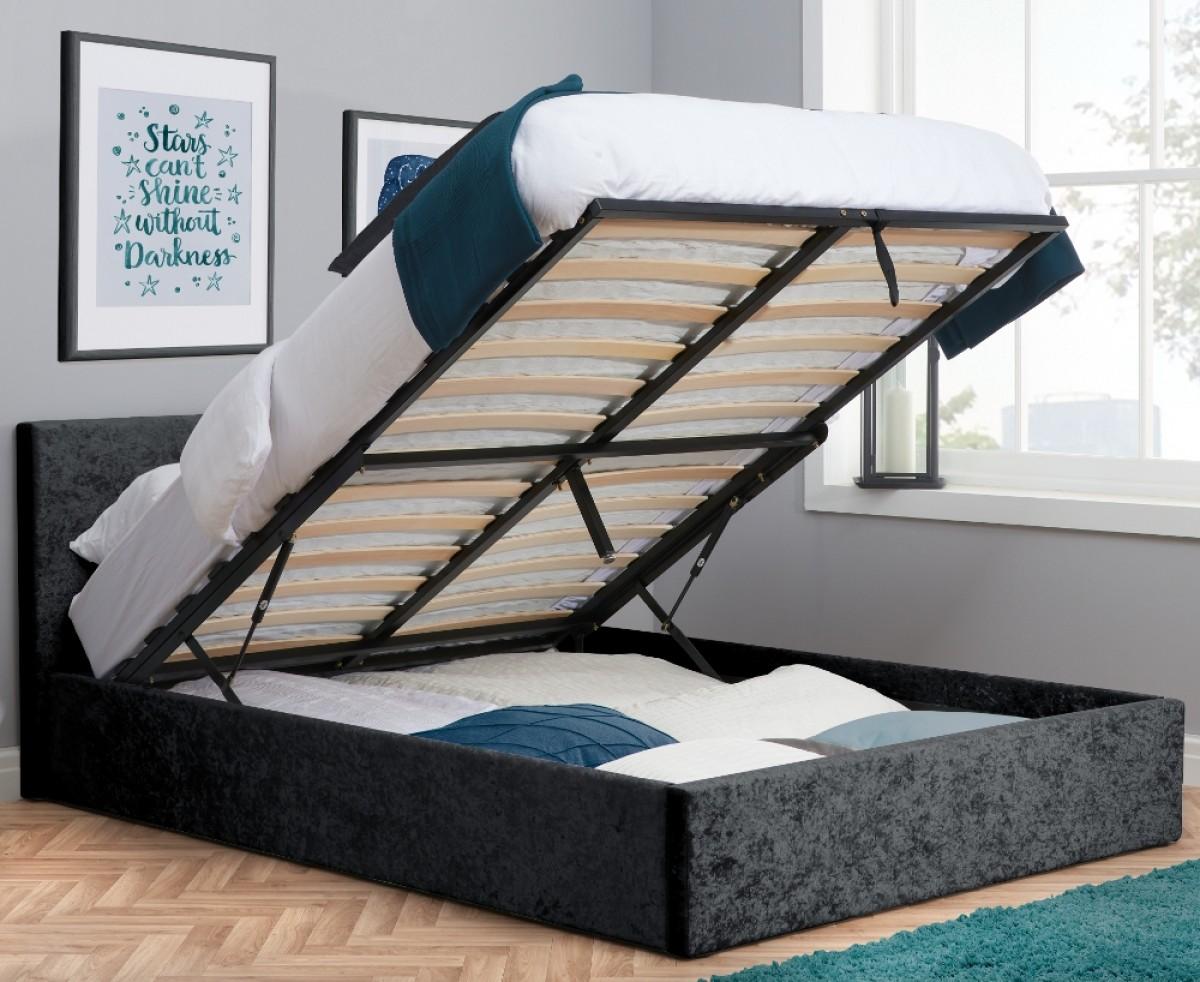 Berlin Black Crushed Velvet Fabric Ottoman Storage Bed